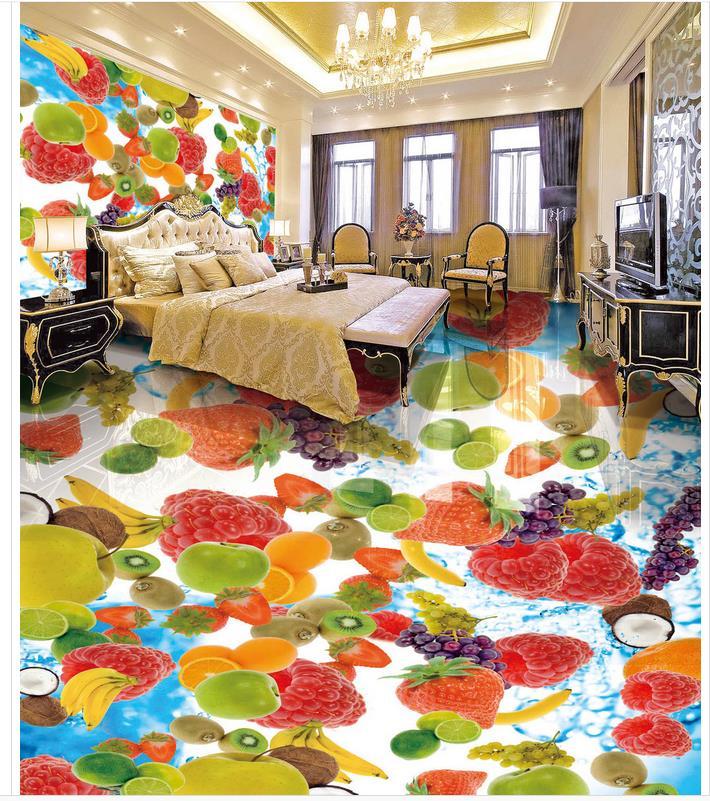 Wallpaper floor mural fruit 3D wallpaper floor for living room PVC waterproof floor 3d floor wallpapers beibehang modern luxury circle design wallpaper 3d stereoscopic mural wallpapers non woven home decor wallpapers flocking wa