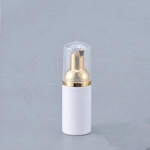 Image 5 - 12 X  30ML 50ML 80ML Cosmetic Facial Cleanser Wash Cream Plastic PET White Liquid Soap Foam Bottle with Golden Foamer Pump