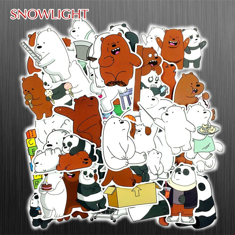 36Pcs/Set Cute Bear Cartoon PVC Waterproof JDM Sticker FOR Laptop Guitar Motocycle Luggage Skateboard Doodle Decor Toy Sticker