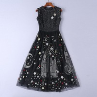 Runway Women's Vintage Maxi Long Dress Wool Voile Patchwork Luxury Sequins Stars 2019 Spring Ladies Tank Embroidery Dresses New