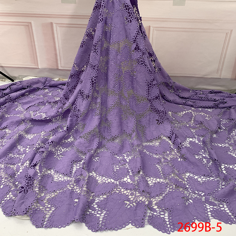 Hot Sale White Guipure Lace Fabric African Cord Lace Fabric 2019 High Quality  Milk Water Soluble Lace With Stones KS2699B-5