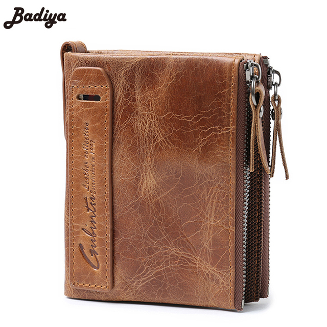Genuine Crazy Horse Cowhide Leather Men Wallet Short Coin Purse Small Vintage Wallet Brand High Quality Vintage Designer
