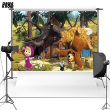 DAWNKNOW Cartoon Masha And Bear Vinyl Photography Background For Baby Forest Polyester Backdrops Children Photo Studio G065