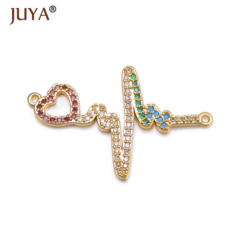 High Quality Copper Metal Inlay Zircon Rhinestone Connectors Gold Color Heart Heartbeat/ Electrocardiogram Jewelry Accessories
