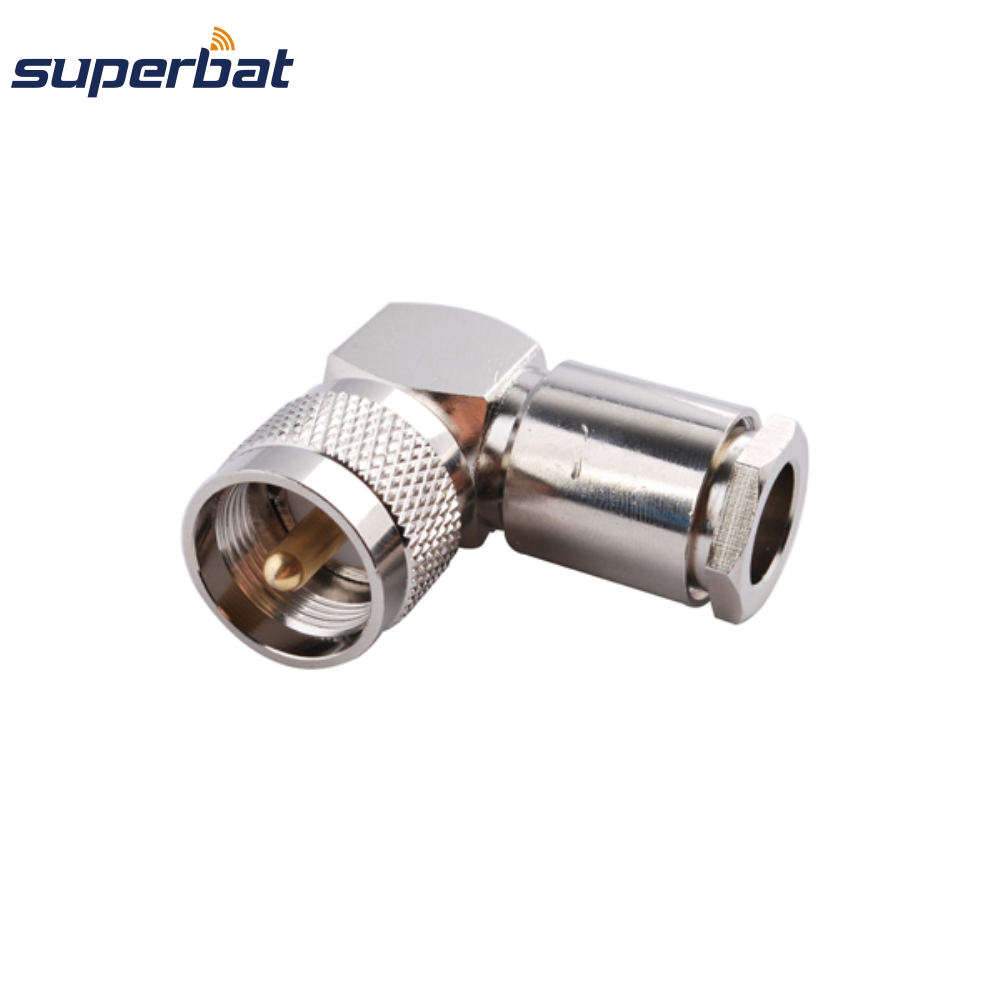 Superbat 10pcs RF Coaxial Connector UHF Clamp Plug Male Right Angle For RG8, RG213,RG214,LMR400 Cable