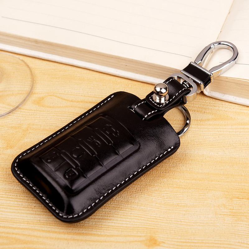 Leather Car Key Fob Cover for Cadillac CTS Coupe 2014 ATS 2012 XTS 2013 SRX Escalade Key Case Holder Bag Keychain Accessories