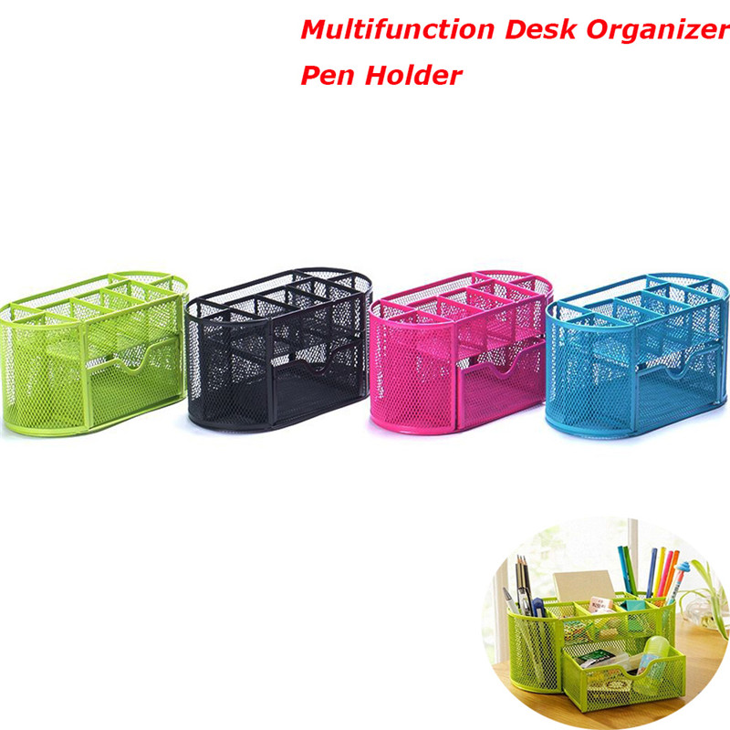 1Pcs Multifunction Stationery Desk Organizer Pen Holder 9 cells Metal Mesh Desktop Office Pen Pencil Holder Study Storage metal pen holder mesh desk organizer mesh pen holders storage box metal desk storage holder office home supplies iron pen holder