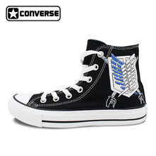 Scout Regiment Attack on Titan Converse All Star Design Hand Painted Shoes  Custom High Top Black Canvas Sneakers Birthday Gifts 0504434e2ce8