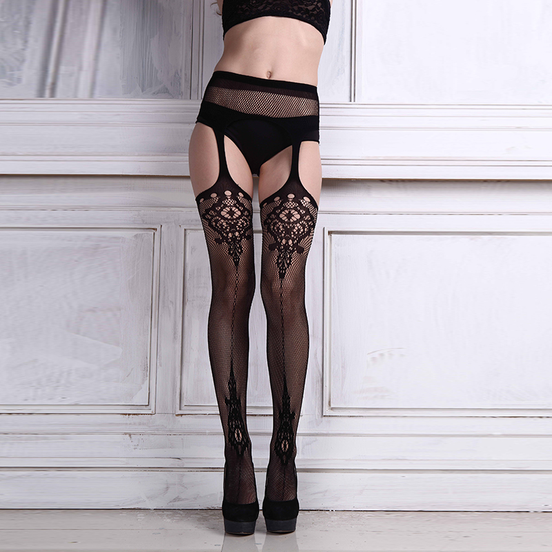 Módní horké ženy punčochy Sexy čiré punčocháče Tenké krajkové punčochy Stehna Vyšívané průhledné Ženy Sexy punčochové punčocháče