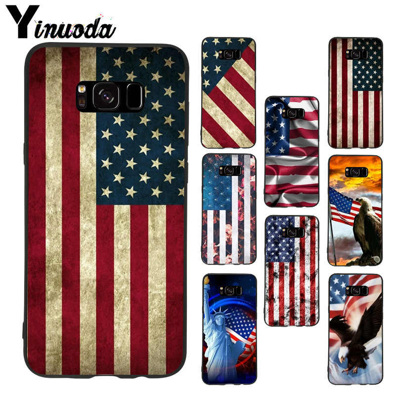 YIMAOC United States USA Flag Silicone Case for Samsung Galaxy S7 S8