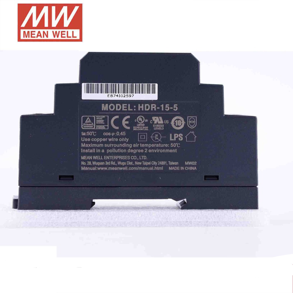 5PCS Original MEAN WELL HDR 15 5 2 4A 12W 5V meanwell ultra slim step shape