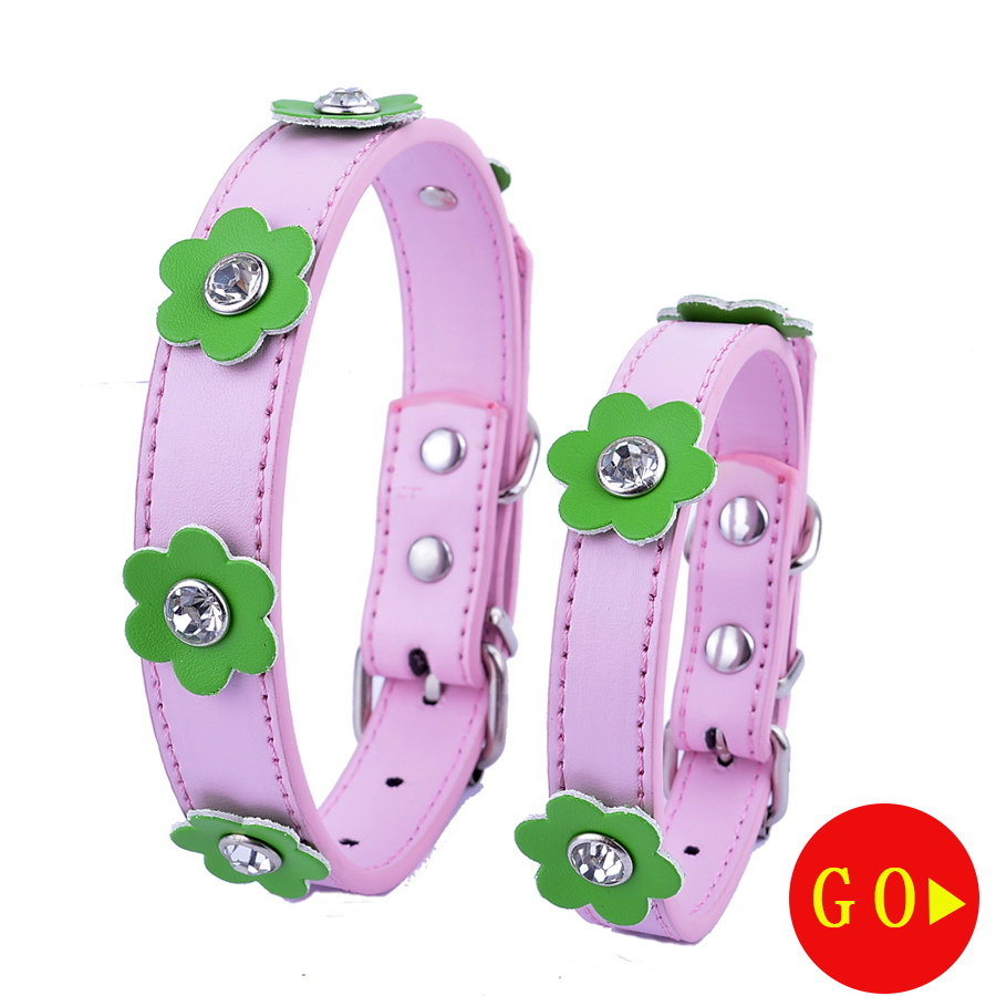Popular pink flower dog collar buy cheap pink flower dog collar new flowers accessories leather dog collar diamante studded small dog necklace pink red black white purple dhlflorist Choice Image