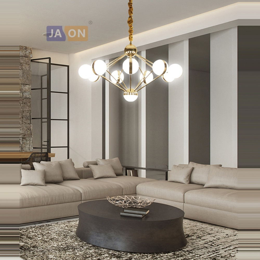 LED Postmodern Iron Acrylic Gold Chrome Chandelier Lighting Lamparas De Techo Suspension Luminaire Lampen For Foyer Bedroom|Chandeliers| |  - title=