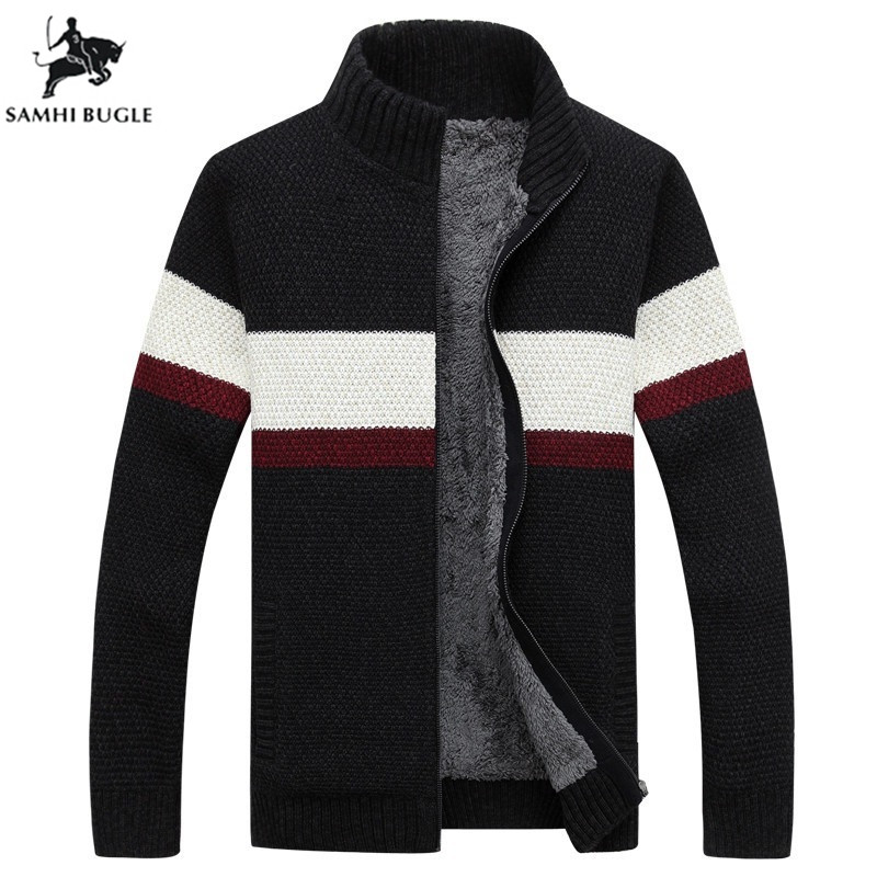 SAMHIBUGLE Brand Clothing Winter Sweater Men Striped Cotton Stand Collar Cardigan Men Thicken Wool Liner Coat XXXL