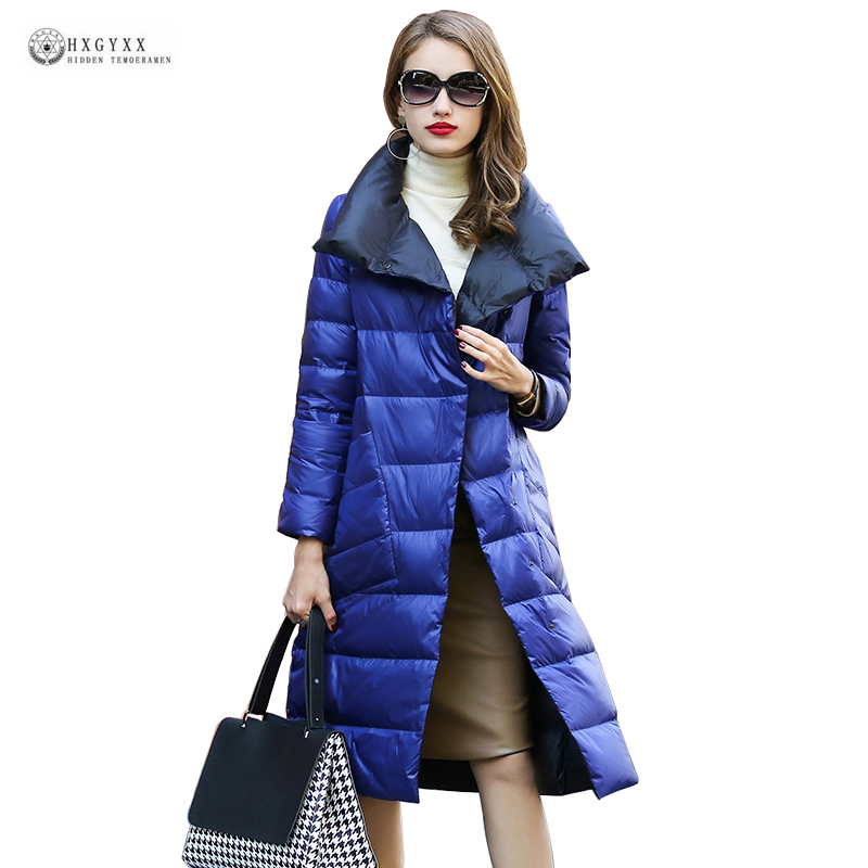 2019 New Long   Down     Coat   Women Stand Collar Slim White Duck   Down   Jackets Fashionable Parka Outerwear Female Winter   Coat   OK1144