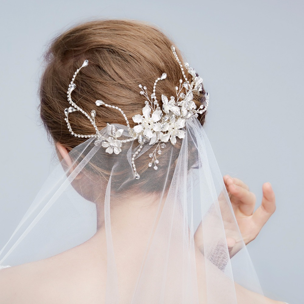 us $160.3 30% off|crystal flower bridal headpiece silver plated hair clip wedding hair accessories wholesale 12pcs/lot-in hair jewelry from jewelry &