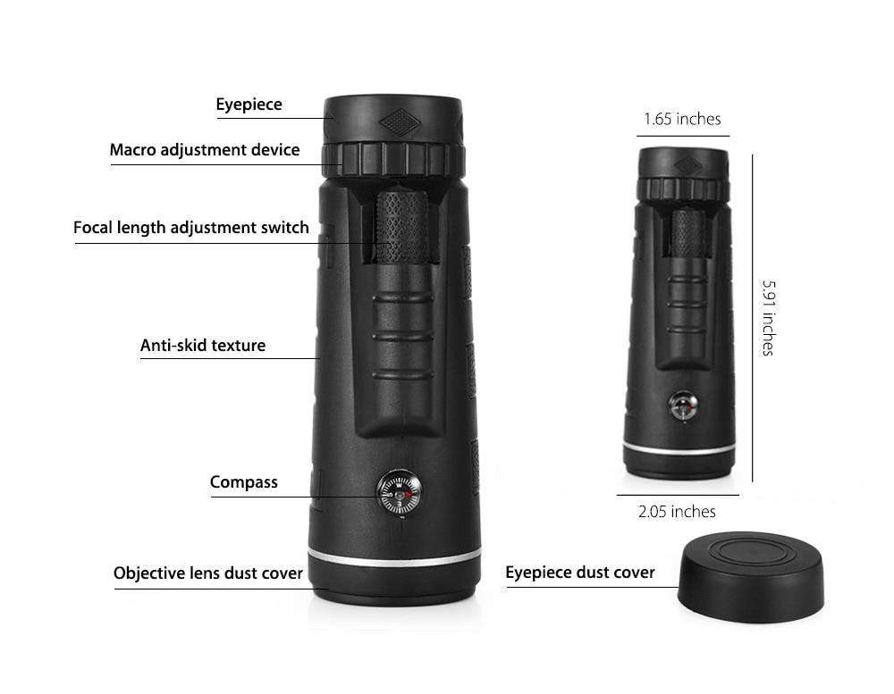 Best 40x60 HD Monocular Telescope BAK4 Lens With Tripod