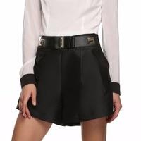 Пикантные Летние черные Высокая Талия Skort Для женщин Шорты для женщин женские горячие короткие штаны леди свободные широкие брюки Бермуды д...