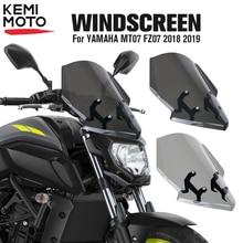 KEMiMOTO для Yamaha MT07 мотоцикл ветер экран дефлектор ветрового стекла MT 07 FZ 07 FZ07 экран с кронштейном
