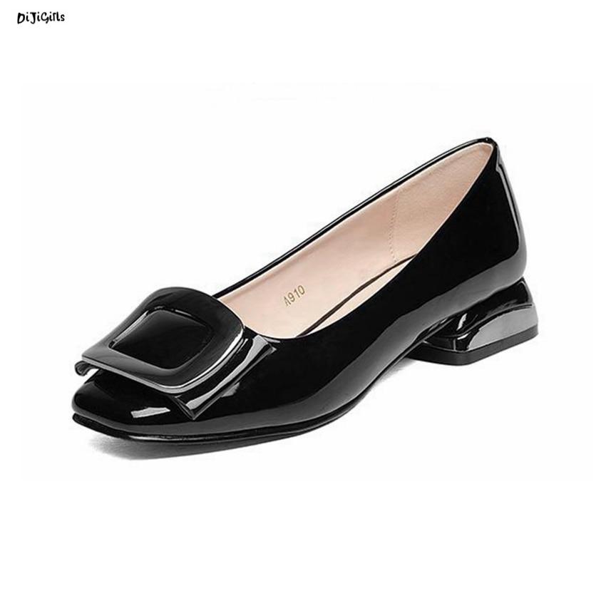 Women Thick Low Heels Shoes Woman Fashion Patent Leather Pumps Plus Size Square Toe Female Party Shoes qna910 egonery buckle strap faux leather thick high heels fashion style ladies party shoes women s shoe plus size woman pumps