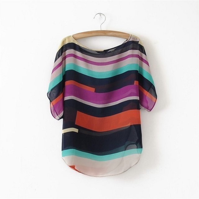 ST08 fashion Women Striped chiffon blouse Multi-colour print  shirts Loose Short Sleeve casual blusas femininas plus tops S-XXL