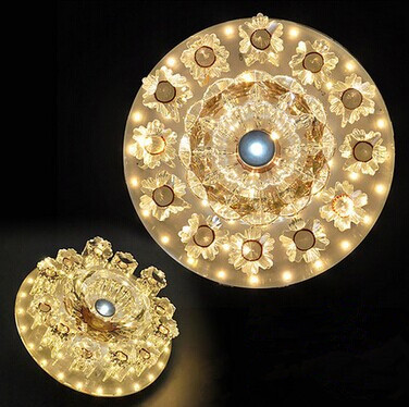 18CM,8W,Modern Crystal LED ceiling light,flower,corridor balcony entrance glass for bedroom hall,Bulb Included fumat modern minimalist bedroom ceiling light corridor balcony glass lampshade light kitchen round metal ceiling lamps
