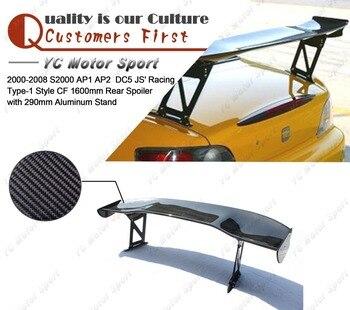Задний спойлер из углеродного волокна 1600 мм с алюминиевой подставкой 290 мм для 2000-2008 S2000 AP1 AP2 DC5 JS Racing Type-1 Style заднего крыла