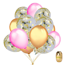 16pcs Gold Confetti Balloons Decoration, 12 Inches & Pink Party birthday wedding