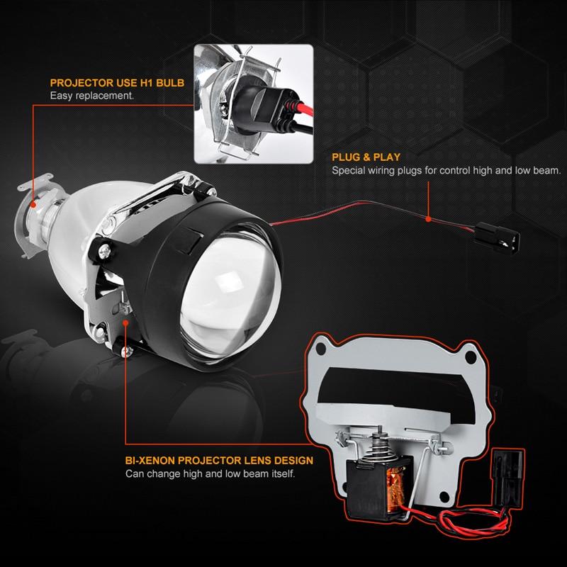RACBOX 35 w 2.5 pouce LHD RHD bi-xénon HID Projecteur Objectif H4 H7 Auto Phare Ensemble 4300 k 6000 k 8000 k Pour Rénovation Phare De Voiture - 3