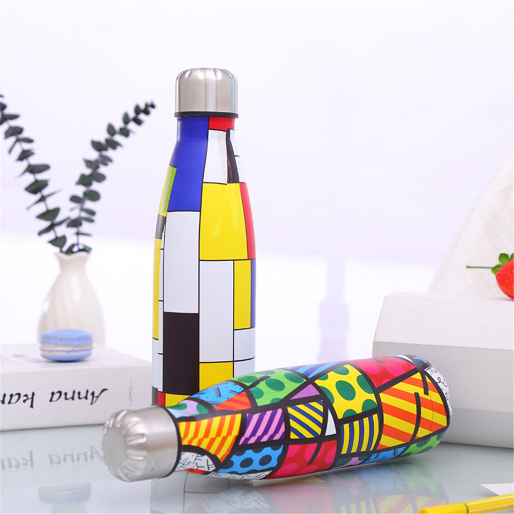 Designer Water Bottle Creative Printed Thermos Trip Vacuum Insulated Bicycle Drink Bottle Lovely Tea Milk Cup in Water Bottles from Home Garden