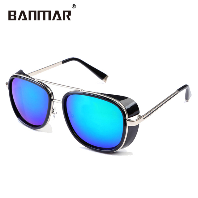9457611d3f BANMAR Tony Stark Iron Man Sunglasses Men Luxury Brand Eyewear Mirror Punk  Sun Glasses Vintage Male Eyeglasses Steampunk 061
