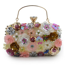 купить 2019 Luxury Beading Clutch Women evening bag Colorful flower party purse women bridal chain handbag pouch soiree pochette bags дешево