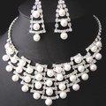 Brincos Colares moda Rhinestone Cristal Nupcial Do Casamento Conjuntos de Jóias Partido Jóias Para As Mulheres