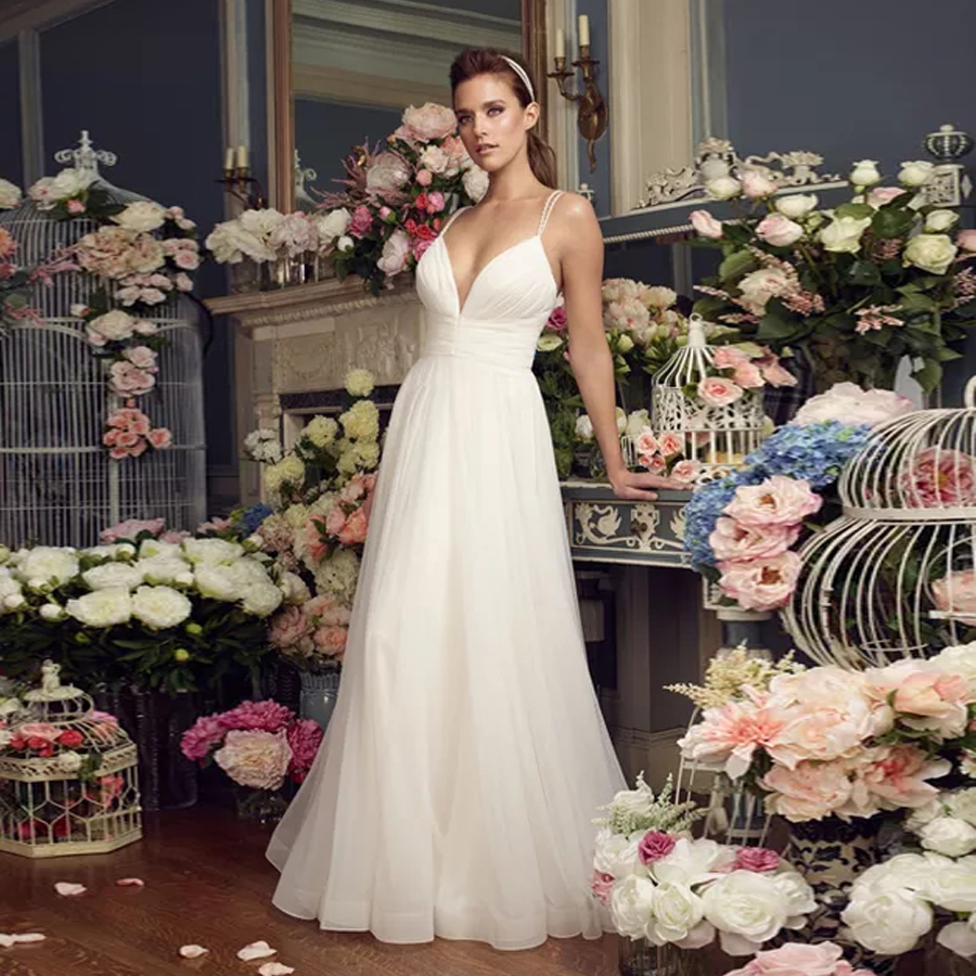 Gathered Deep V-Neckline Bodice And Double Beaded Spaghetti Straps Mesh Tulle Wedding Dress A-Line Bridal Dress