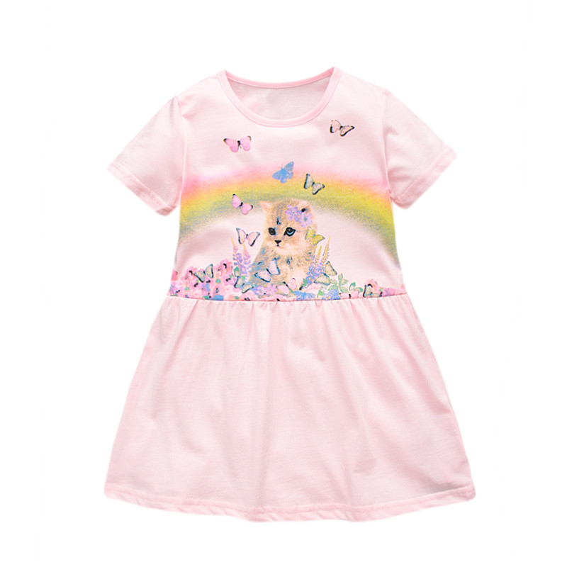 Summer Cotton Cat Design Dress For Babies, Girls