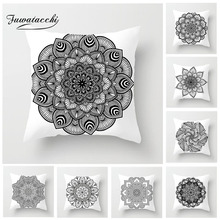 Fuwatacchi Ethnic Style Cushion Cover Mandala Flower Pillow Case Home Decorative White and Black Pillows For Sofa Seat