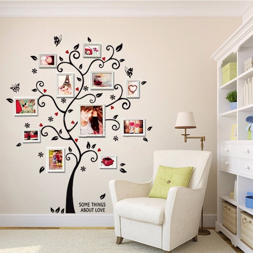 100*120 Cm/40 * 48in 3D bricolage amovible Photo arbre Pvc Stickers muraux/adhésif Stickers muraux Art Mural décor à la maison
