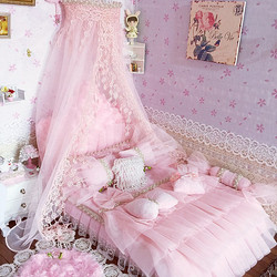 1:6 Furniture for dolls Dollhouse Miniature 30cm doll bed simulation soft gorgeous pink bed pretend play toys for girls gifts