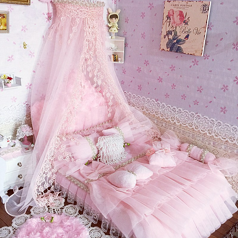 1:6 Furniture for dolls Dollhouse Miniature 30cm doll <font><b>bed</b></font> simulation soft gorgeous pink <font><b>bed</b></font> pretend play toys for girls gifts image