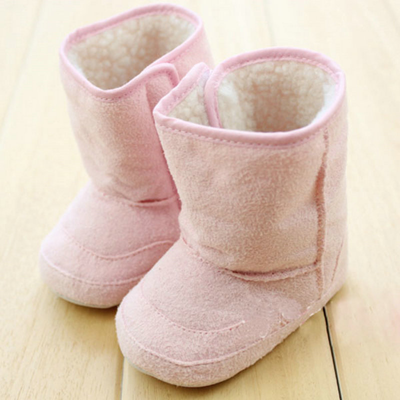 2016 Super Warm Winter Baby Ankle Snow Boots Infant Shoes Pink Khaki Antiskid Keep Warm Baby Shoes First Walkers