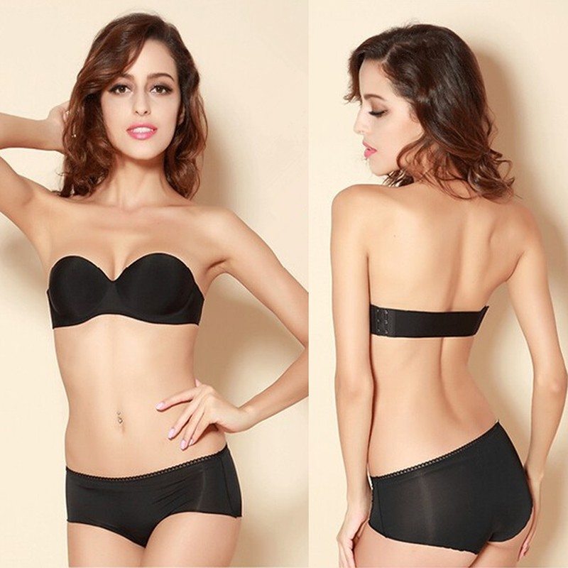 Women Push Up Bra Sexy 1/2 Cup Front Closure Brassiere Girls Seamless Adjustable Bras Black Nude