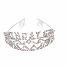 Happy birthday girl Tiara Crown hat for girls kids adult 9 10 16 18 20 21 30 40 50 60 70 80 90th years birthday party decoration(China)