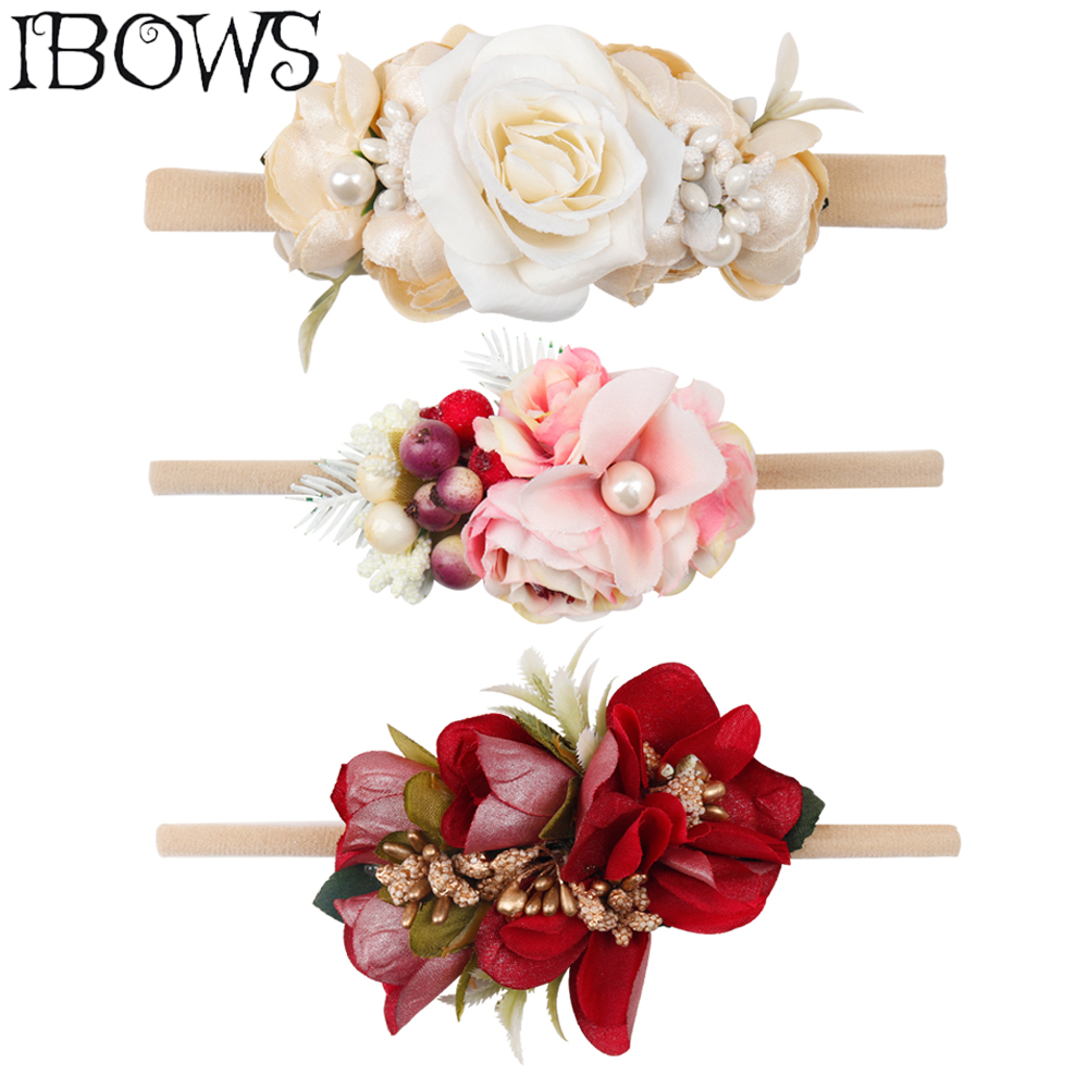 IBOWS Hair Accessories Cute Baby Headband For Wedding Party Artificial Flower Hairband With Elastic Nylon Band Photograph Props