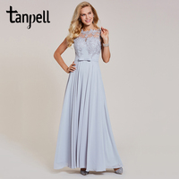 Tanpell Appliques A Line Evening Dress Silver Bow Cap Sleeves Floor Length Gown Women Formal Wedding