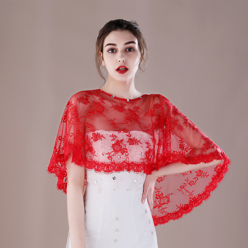 Wedding Gown Cover Ups: Wedding Lace Red Wrap Jacket Sleeveless Girls Teens Cover