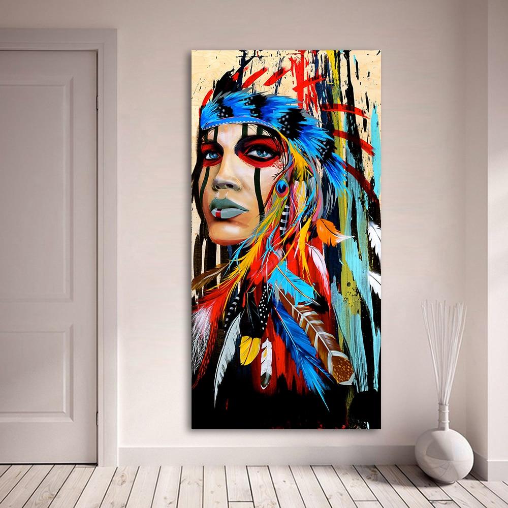 HDARTISAN Portret Canvas Kunst Muur Foto Voor Woonkamer Indiase Vrouw Gevederde Pride Schilderen Home Decor Gedrukt