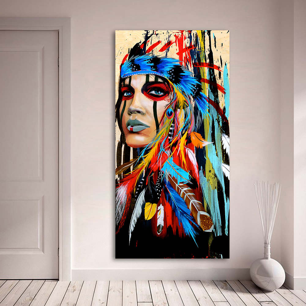HDARTISAN retrato lienzo arte pared imágenes para sala de estar India mujer emplumado orgullo pintura decoración del hogar impreso