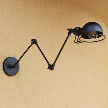 Black Loft Style Industrial Retro Vintage Wall Lamp Edison Wandlampen Adjustable Swing Long Arm Wall Light Fixtures Sconces