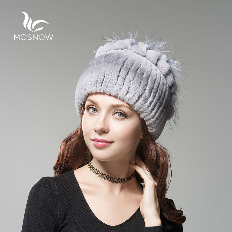 MOSNOW Fashion Rex Rabbit Fur Winter Hats For Women Flower Top Knitted High Quality Ladies Female Beanies Bonnet Cap