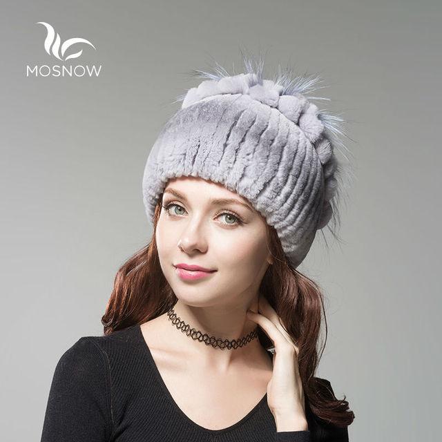 MOSNOW Moda Rex Pele De Coelho Chapéus de Inverno Para Mulheres Gorros Bonnet Cap Flor Top de Malha Das Senhoras da Alta Qualidade do Sexo Feminino